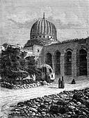 The Mosque of Sultan Barkuk in Cairo, vintage engraving.