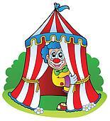 Cartoon clown in circus tent