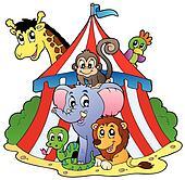 Various animals in circus tent