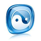 yin yang symbol icon blue glass, isolated on white background.