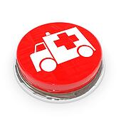 Red round button with white ambulance car.