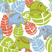 Colorful jungle seamless pattern with elephants