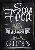 Poster Sea food. Chalk.
