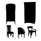 art nouveau furniture silhouettes