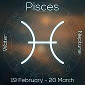 Zodiac sign - Pisces. White line astrological symbol