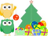 owl family with christmas tree, balls, balloons and gift boxes