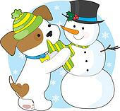Cute Puppy and Snowman