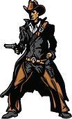 Cowboy Mascot Aiming Gun Vector Ill