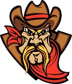 Cowboy Mascot Head Vector Illustrat