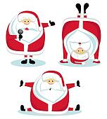 Santa Claus in different positions. Vector illustration