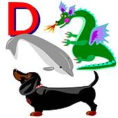 D dachshund, dragon, dolphin