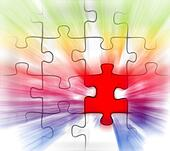 colorful puzzle with red piece