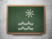 Vacation concept: Beach on chalkboard background