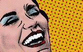 Pop art comic style woman, retro poster