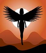 Silhouette of woman-angel