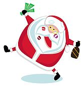 Singing Santa with lipstick marks, money and bottle . Vector