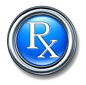 Prescription rx blue button