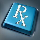 Prescription rx blue computer key