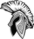 Spartan Trojan Helmet Mascot Vector