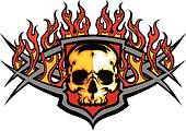 Skull Template with Flames Vector I