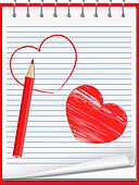 Notebook with hand drawn hearts