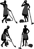 Cleaning Lady With Vacuum Cleaner