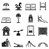 Playground black simple icons set