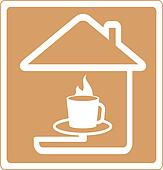 icon with house and cup of coffee