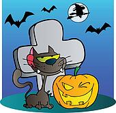 Black Cat And Halloween Jackolanter