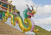 beautiful Golden dragon statue in Thailand temple
