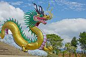 Golden dragon with blue sky