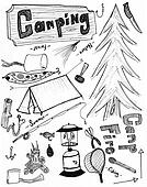 Campingg hand drawn doodles