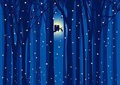 Winter illustration owl in forest