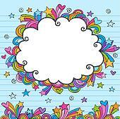Cloud Border Frame Sketchy Doodle