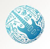 Music instruments in bauble shape