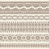 Henna Doodle Border Designs Vector