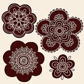 Henna Doodle Flower Silhouettes