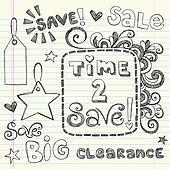 Coupon Sale Shopping Doodles Vector