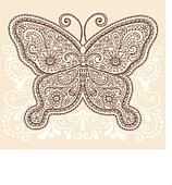 Butterfly Henna Paisley Doodle