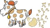 Farting Music Cow Vector