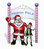 Santa and his Elf at the North Pole