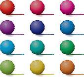 vector set of yarn balls