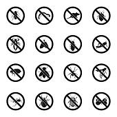 No insect sign icons set, simple style