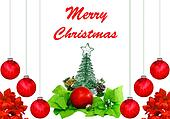 A Christmas design with red Christmas balls, poinsettia leaves, a Christmas tree and star a pine cone and a flower on white with room for your text