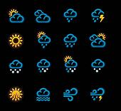 Vector weather forecast icons. P.1