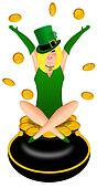 Sexy Blonde Irishr Woman with Leprechaun Costume Illustration
