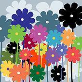 Floral card, retro art