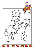coloring book of the works - horsem