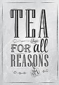 Poster Tea For all Reasons. Coal.