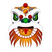 Chinese Lion Dance Head Illustration